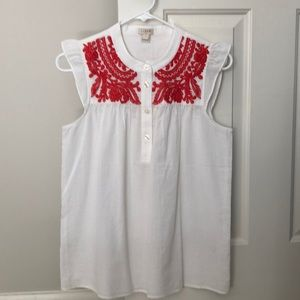 JCrew NWT white and red summer shirt size 2